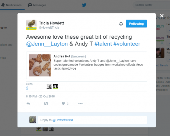 Volunteer badges tweets, October 2016